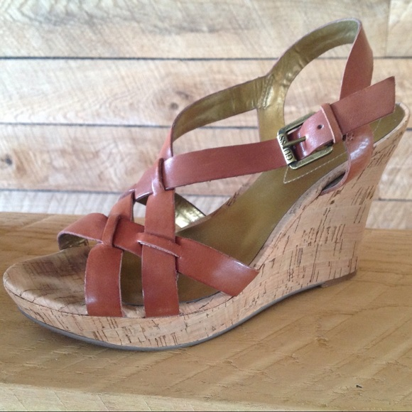 ecf018f627 Guess Shoes | Sandals 85 Brown Leather Strappy Wedge Tan | Poshmark